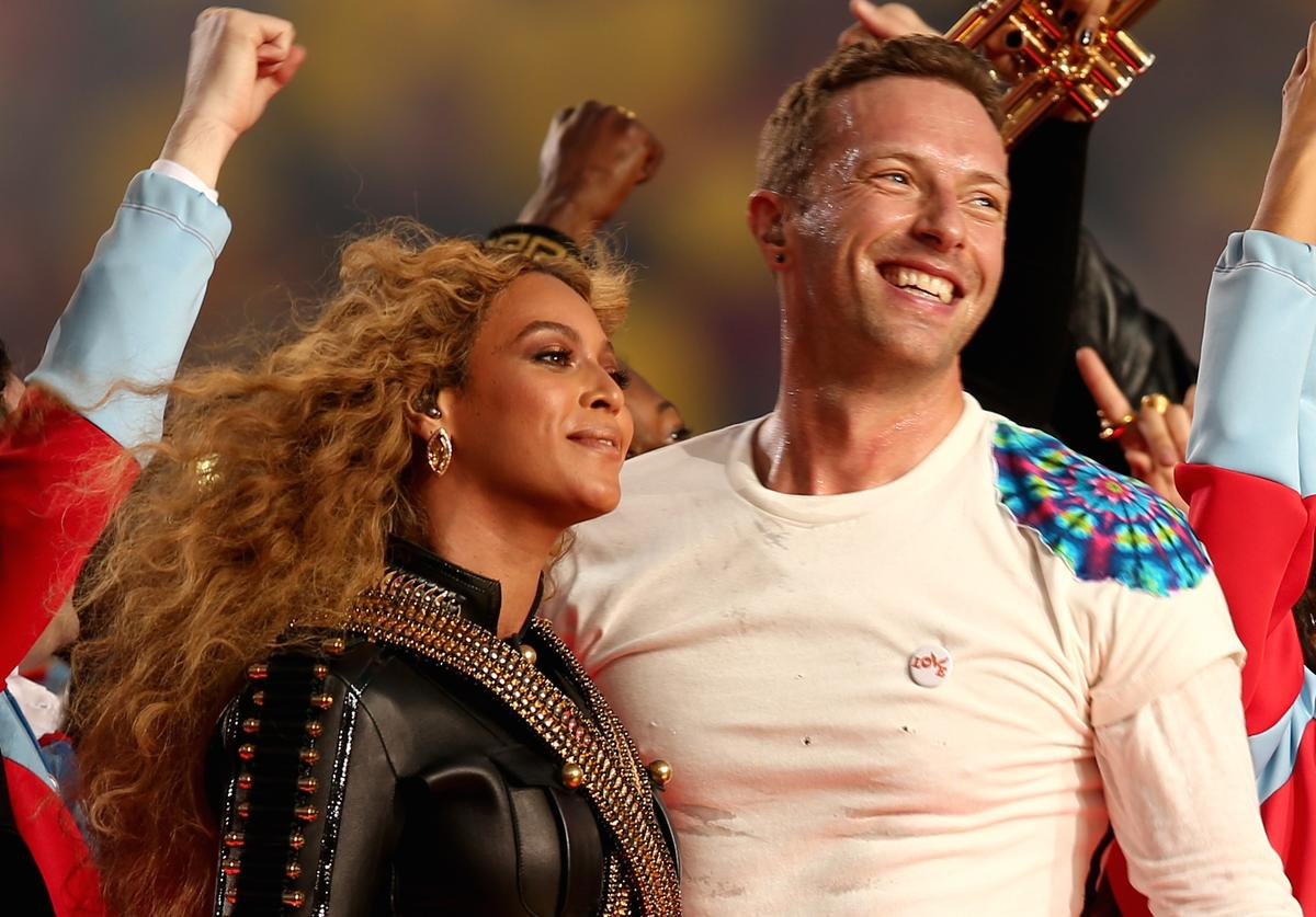 Coldplay and Beyonce perform together at Super Bowl 50.
