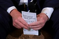 """Donald Trump Holds Card Reminding Him To Tell Shooting Victims """"I Hear You"""""""