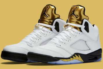 """Release Reminder: The Olympic """"Gold Coin"""" Air Jordan 5 Releases Tomorrow"""