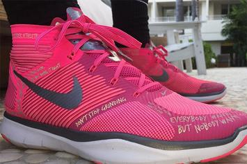 "Kevin Hart Debuts ""Breast Cancer Awareness"" Hustle Hart Sneakers"