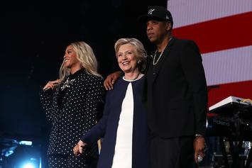 Watch Jay Z & Beyonce Bring Out Hillary Clinton In Cleveland (Complete With Airhorn)
