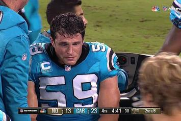 Luke Kuechly Breaks Down In Tears While Being Carted Off After Another Concussion