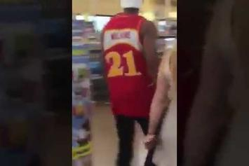Why Tho? Dude Puts His Girl On A Leash And Makes Her Wear A Muzzle In The Grocery Store!!