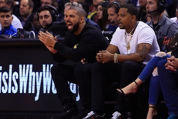 Drake Attends Toronto Raptors Game; Gives Postgame Interview With Kyle Lowry