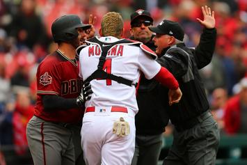 Yadier Molina Charges At D'Backs Manager, Benches Clear