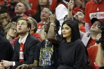 Travis Scott & Kylie Jenner Sit Court Side At Houston Rockets Game