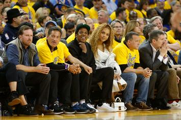 """""""Bey-Z"""" Courtside For Golden State Warriors' Game 1 Blowout"""