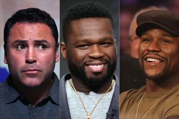 50 Cent Defends Floyd Mayweather: Clowns Oscar De La Hoya With Wig-Wearing Pic