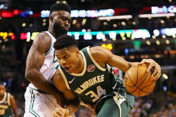 """Jaylen Brown Puts Giannis Antetokounmpo """"On A Poster"""" With Dunk-Flex Combo"""