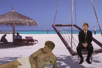 """Justin Bieber & Ed Sheeran's """"I Don't Care"""" Video Is A Really Good Green Screen Montage"""