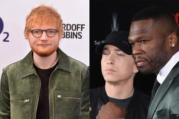 "Eminem, 50 Cent & Ed Sheeran Pose With ""Revival"" Plaques To Celebrate New Song"