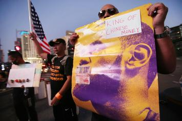 LeBron James Blasted By Hong Kong Protesters Outside Of Staples Center