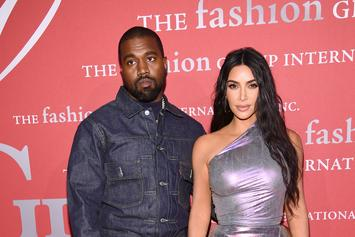 """Kim Kardashian & Kanye West Deal With Kids & """"Morning Madness"""" In Family Photo"""