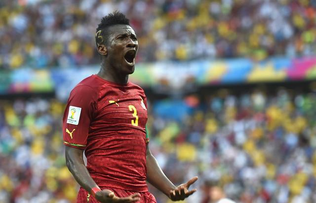 Asamoah Gyan of Ghana celebrates scoring his team's second goal during the 2014 FIFA World Cup Brazil Group G match between Germany and Ghana at Castelao on June 21, 2014 in Fortaleza, Brazil. (Photo by Laurence Griffiths/Getty Images