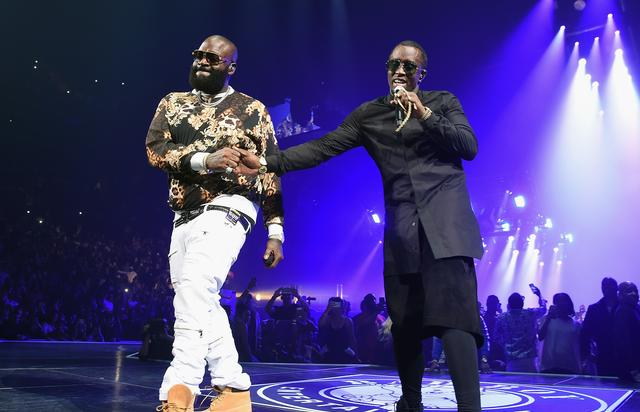Rick Ross on stage with Diddy