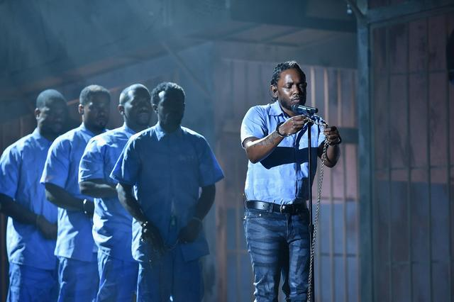 Kendrick Lamar performing at the Grammys