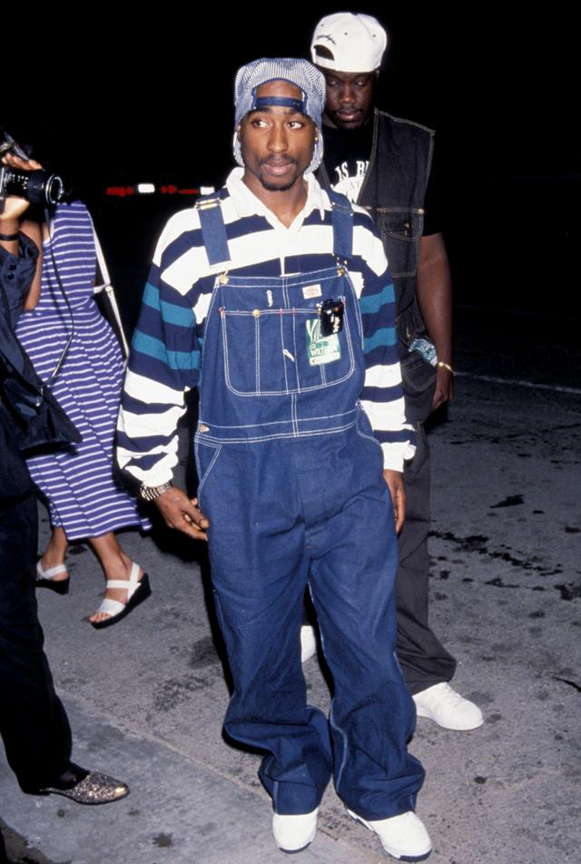Tupac rocks overalls in 1994