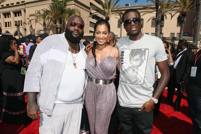 Rick Ross, LaLa and Meek Mill on red carpet