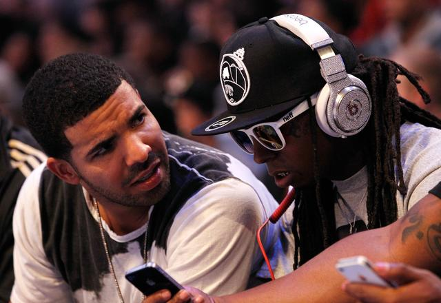 Drake and Lil Wayne at 2012 NBA All Star Game