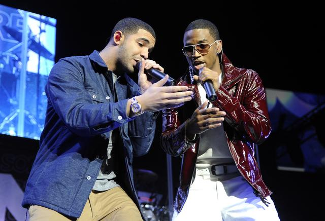 Drake and Trey Songz performing in 2010