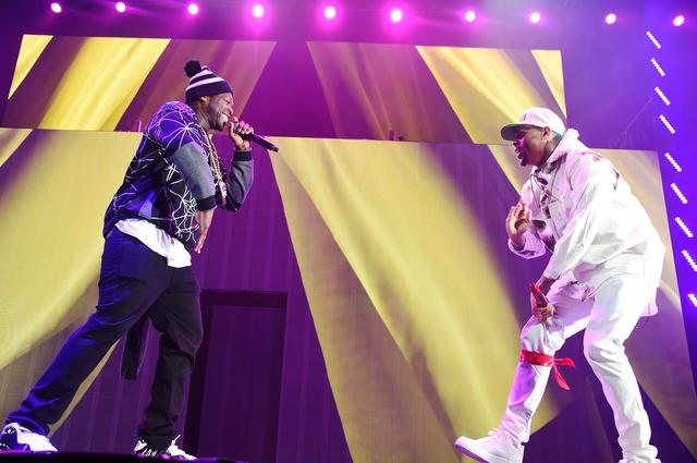 50 Cent and Chris Brown on stage together
