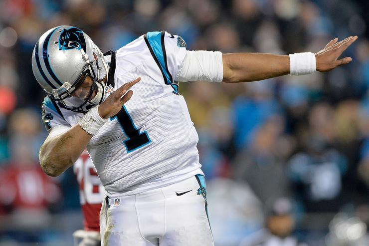 Cam Newton dabbing at the  - Arizona Cardinals v Carolina Panthers game