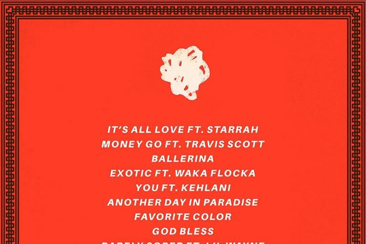 """Tracklist for BElly's """"Another Day In Paradise"""""""