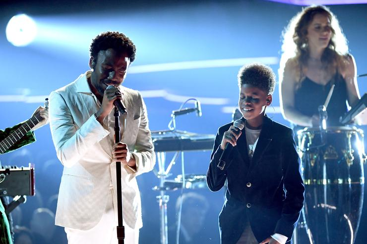 Childish Gambino and JD Mccary perform at the 2018 Grammys